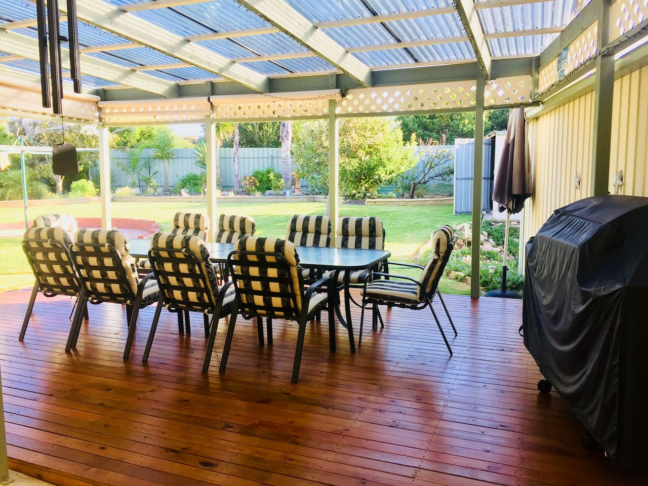 Outdoor entertaining undercover with bbq and gas heating for the cooler nights .