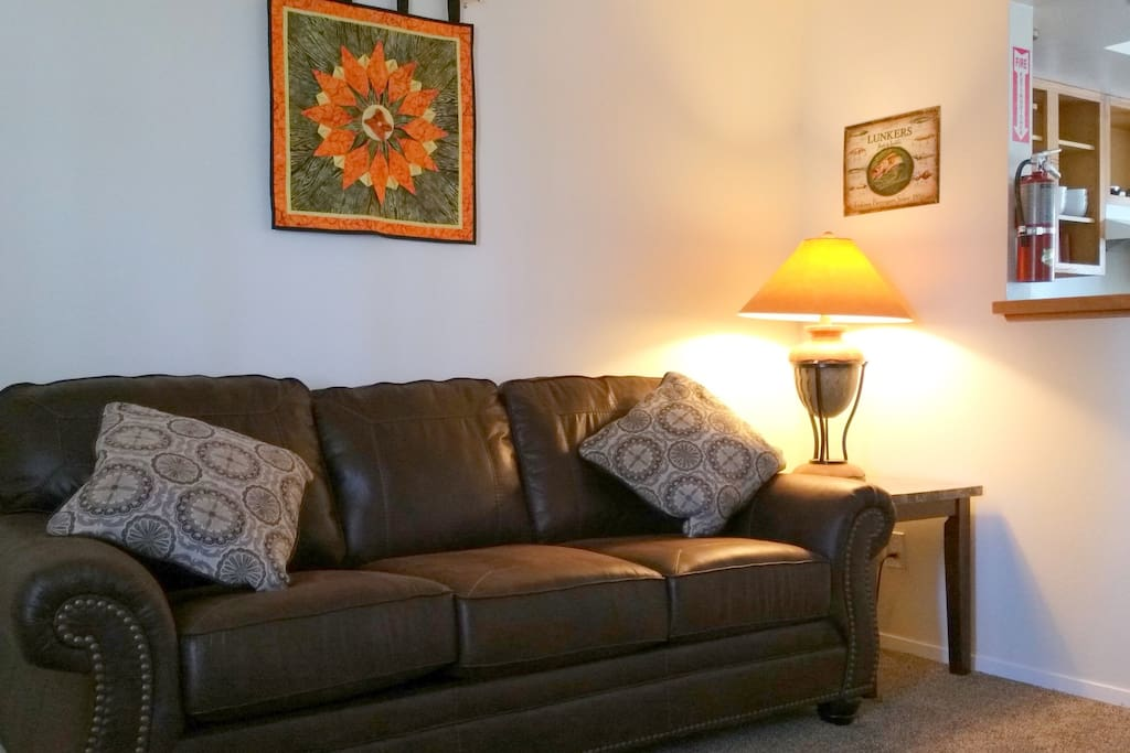New sofa bed with memory foam mattress.