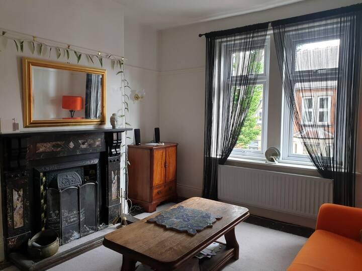 Double bed in Tyneside flat.