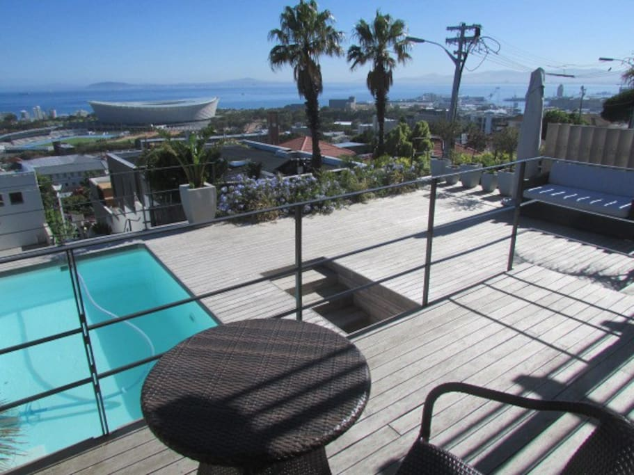Pool Deck, view of Cape Town Stadium and Atlantic seaboard