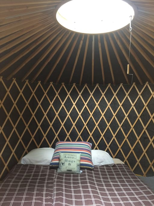 The inside of the yurt represents a calm spot