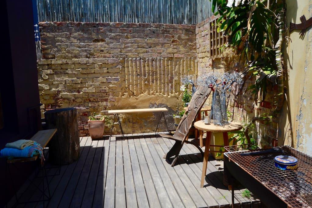 back patio for sunbathing, smoking, braai/bbq