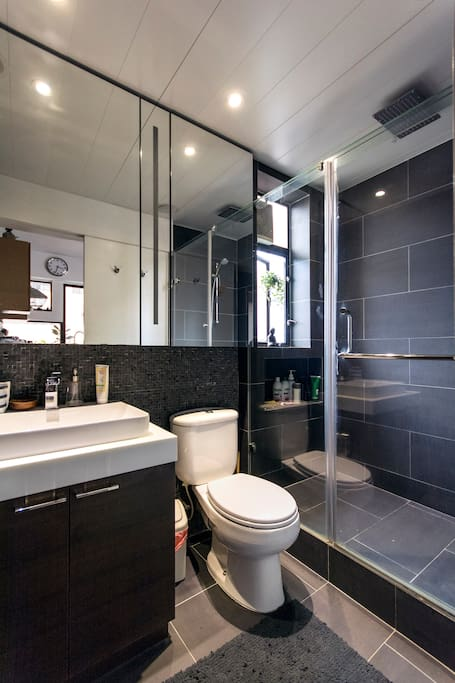Newly renovated bathroom with large shower