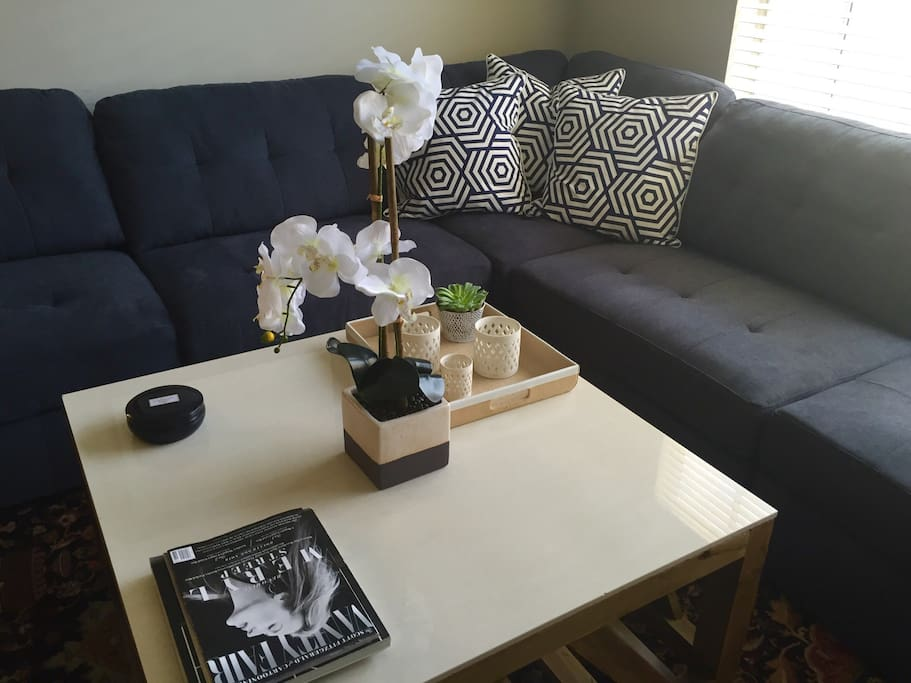 New sofa and coffee table.