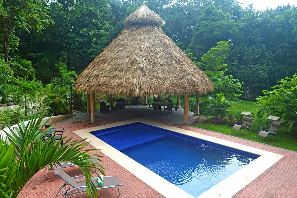 The pool and it's beautiful tiki hut, you've found paradise : )