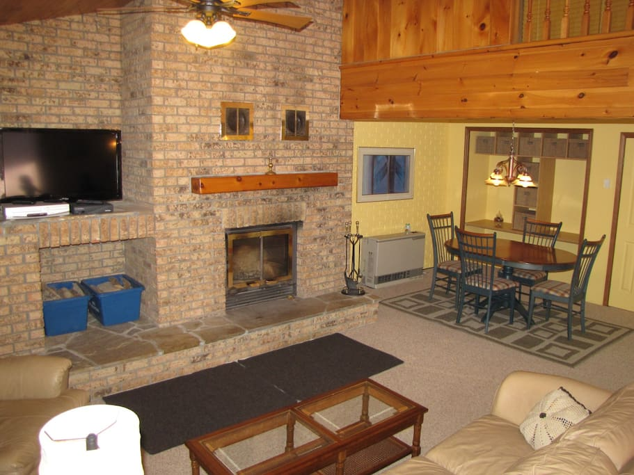 "Very Large Wood Fireplace and a 40"" television with sateliite, dvd player, over 100 dvd movies and wireless internet"
