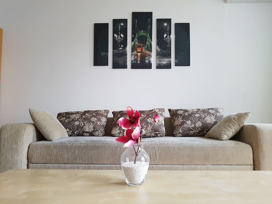 A kanapé kényelmes, memory szivacsot terítünk rá, mikor megágyazunk Neked!