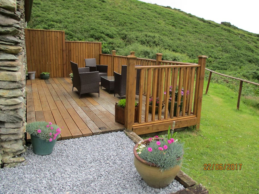 Private decking area with amazing views of the Blaskets