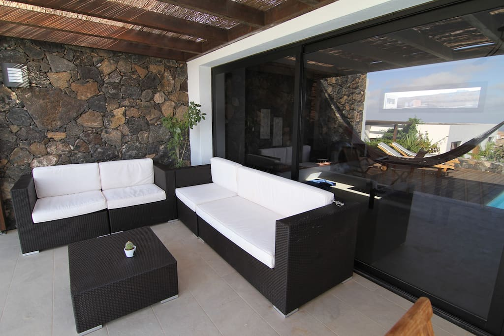 comfortable outdoor sofa area