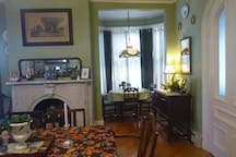 The bay window in the dining room.