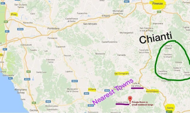 Map: Siena, Monteriggioni, San Gimignano, Volterra, Florence and the Chianti countryside.