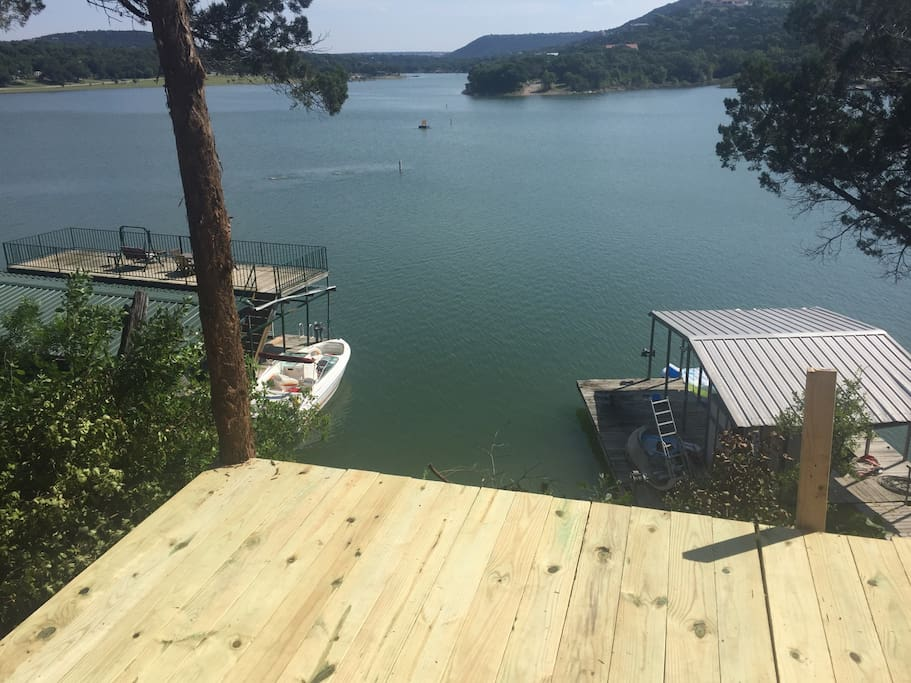 Deck has railing on it now, boat dock is gone (unfortunately).  Working on another.