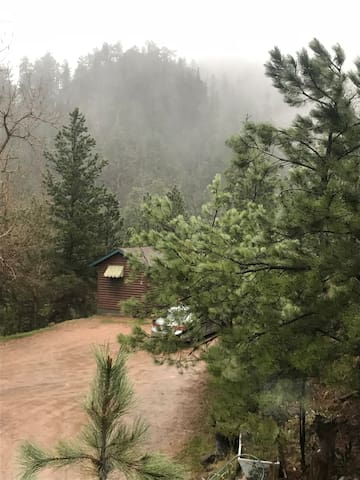 The driveway is steep and you will first see 2 small cabins at the very top, just park at cabin 4.