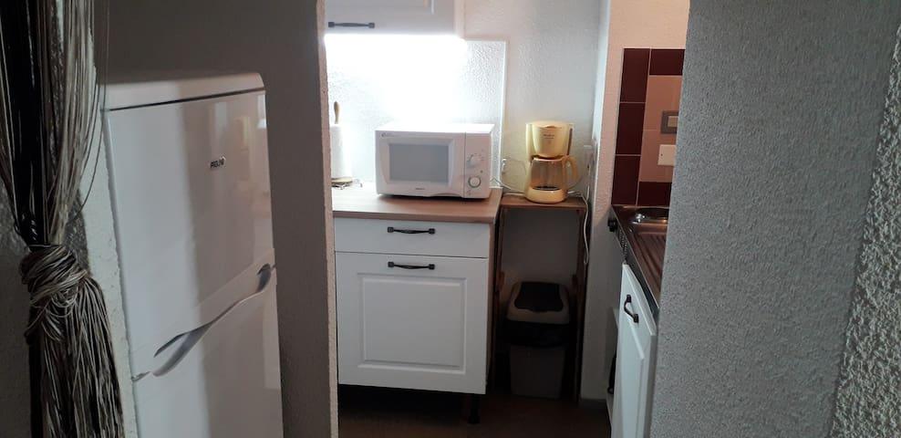 cuisine équipée avec fours, frigo-congélateur, cafetières, ...