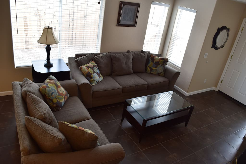 Living Room from Ceiling View of Living Room with Dish Network (250 Channel)