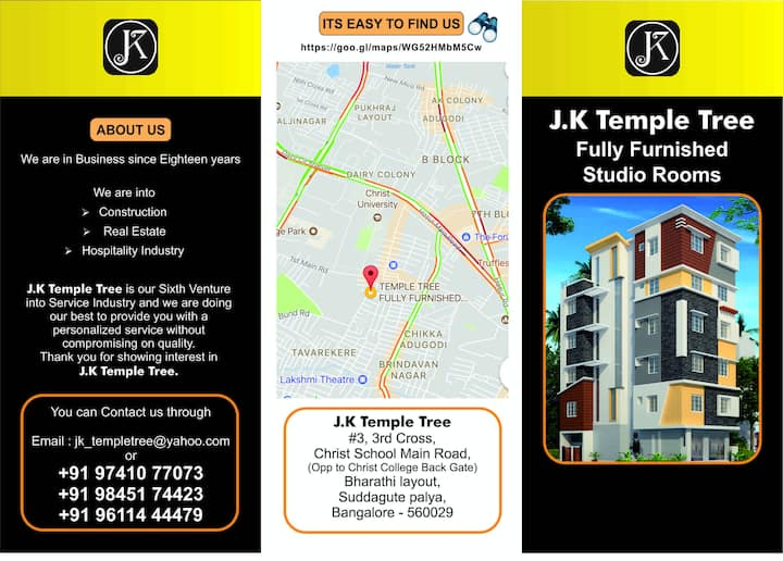 🏡 J K TEMPLE TREE 🏡 Fully Furnished Studio Rooms