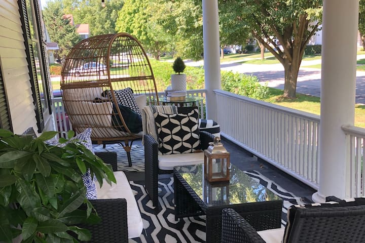 The sun rises on the porch. Possibly the best room in the house. Guests are invited to start their morning or end their evenings enjoying the neighborhood and fresh air.