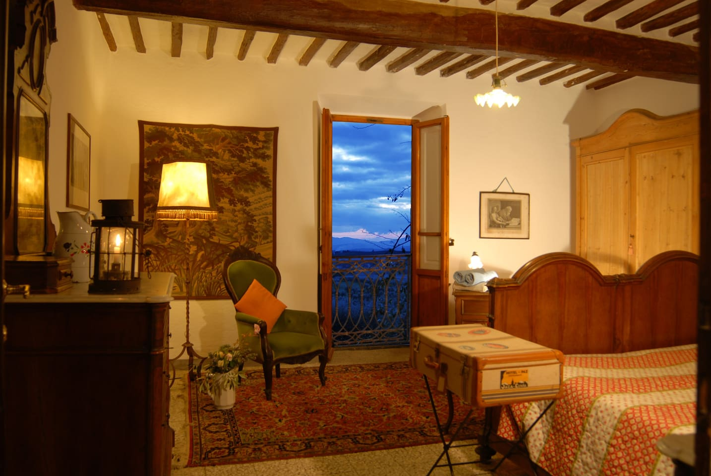 Panoramic bedroom with French balcony, facing the stunning centenary olive valley