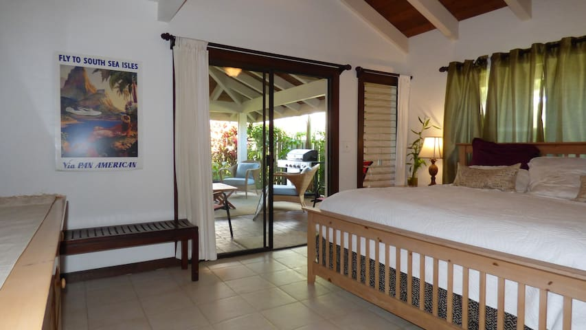 View from bedroom to private covered patio (Lanai)
