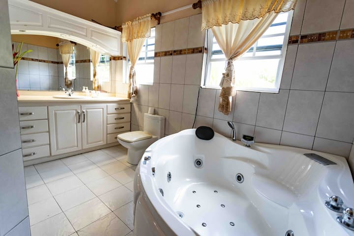 Master bathroom with large jetted tub