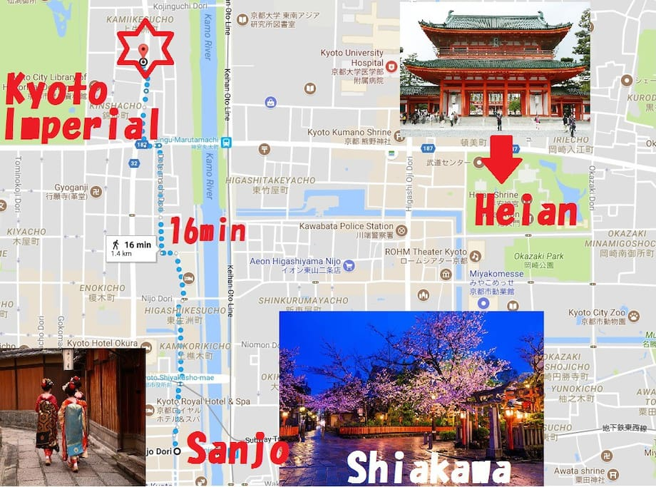 *Kyoto Imperial Palace U.E.S. is the center of Kyoto, and it is possible to reach Kyoto city bus within 30 minutes for any sightseeing spot. (Actually Kyoto station is at the end of Kyoto)   Our hotel is close to downtown, you can walk to 16 minutes on foot.