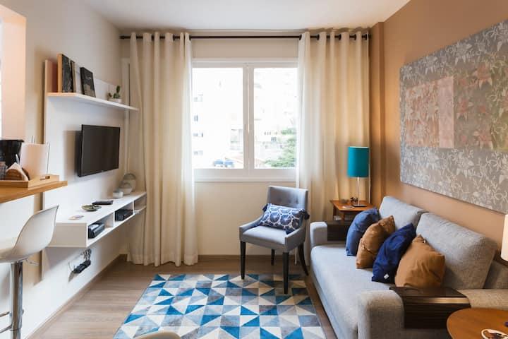 Apt 1 Bedroom 40m2 - 2 pessoas - Cama Casal Queen