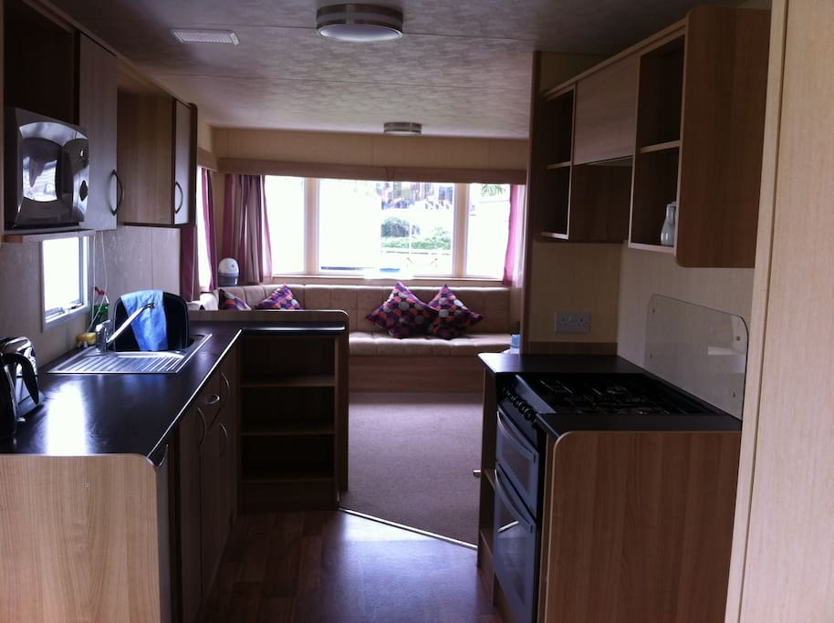 kitchen and large living area, extra oil filled radiators provided