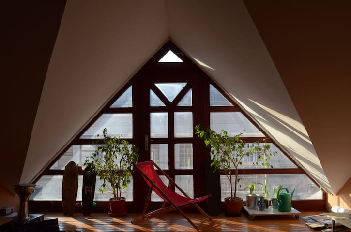 Little room in a flat with accessible rooftop