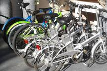 Electric bicycles to rent.