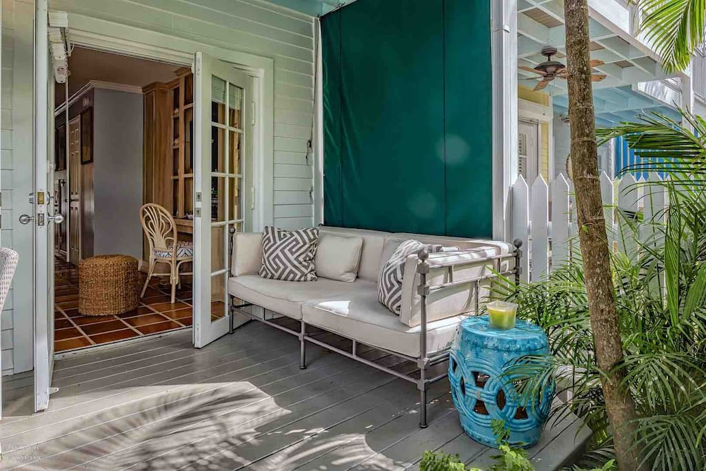 French Doors open up to the spacious back porch...