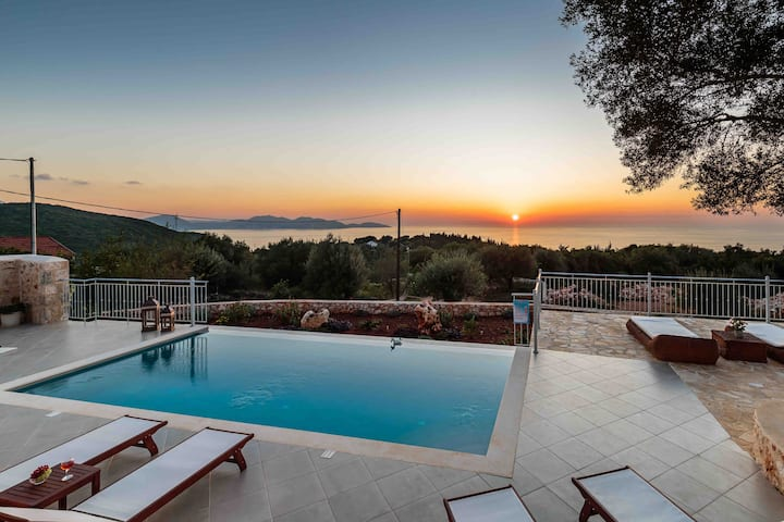 Luxury Private Stone Villa Alex,with sunset view!!