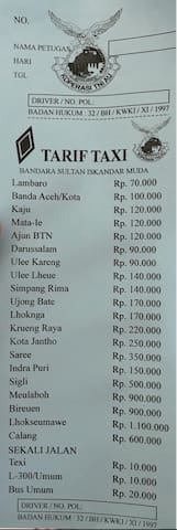 Airport taxi fares to city center and other places