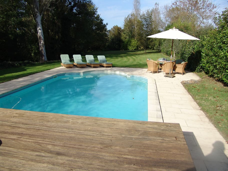 Stunning 2 acre gardens with 10m x 5m heated pool at no extra cost in main season (23 May – 3 October). Outside main season if you would like to have the pool heated and the weather is warm enough we can have it heated for your arrival at an extra cost depending on weather not in excess of £150 per week please enquire. The pool has an electric cover, decking area and patio area with table and chairs and large parasol and sunbeds for enjoying the sun. Also plenty of shade around the garden under the trees. There is a 12ft trampoline.