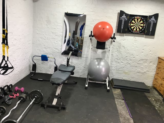 The gym and darts room