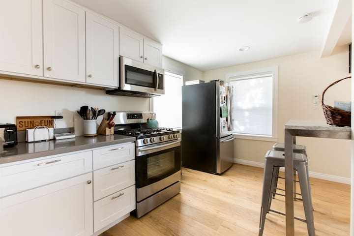 Our newly renovated kitchen has all-new appliances and a french-door refrigerator (fancy!).