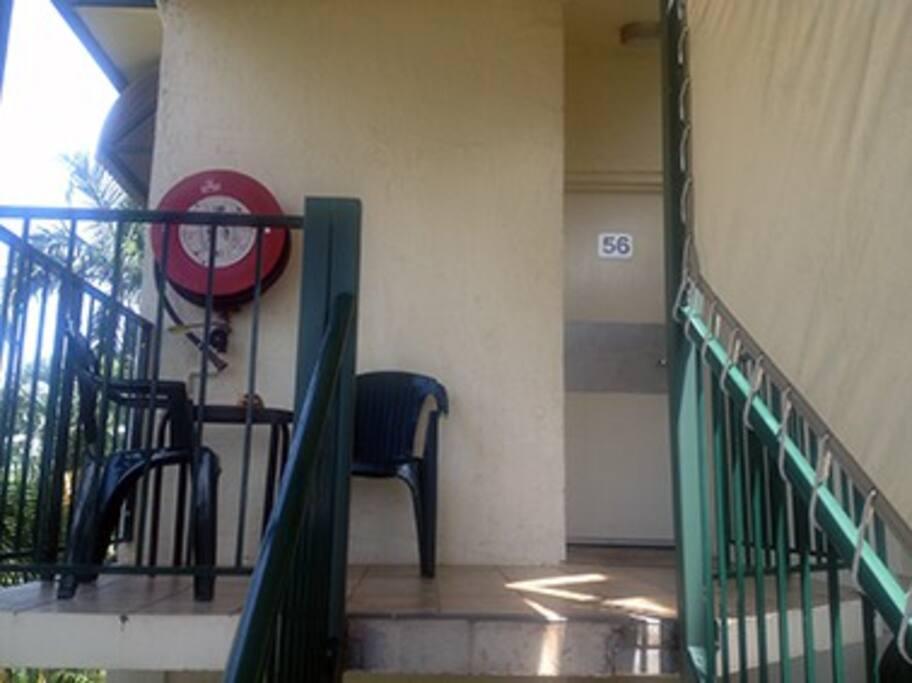 East balcony, entrance
