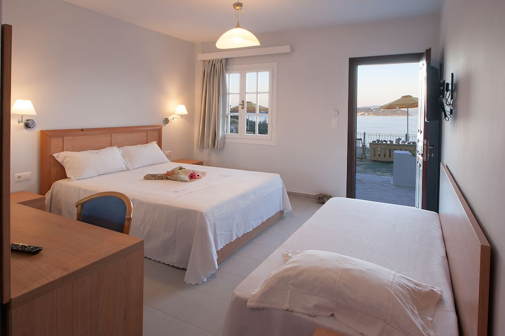 . From this unique room you do admire Adonis red roses and the sea takes many different  poses .