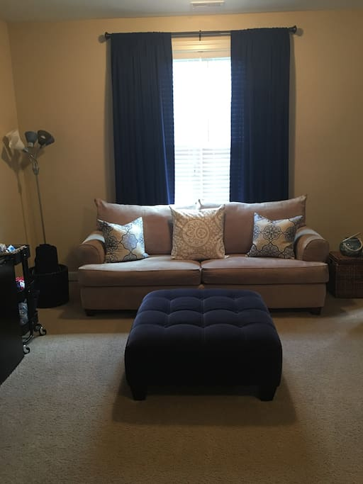 Entryway into your private space! Cozy sofa for lounging or watching TV.