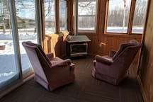 Common area with propane fireplace