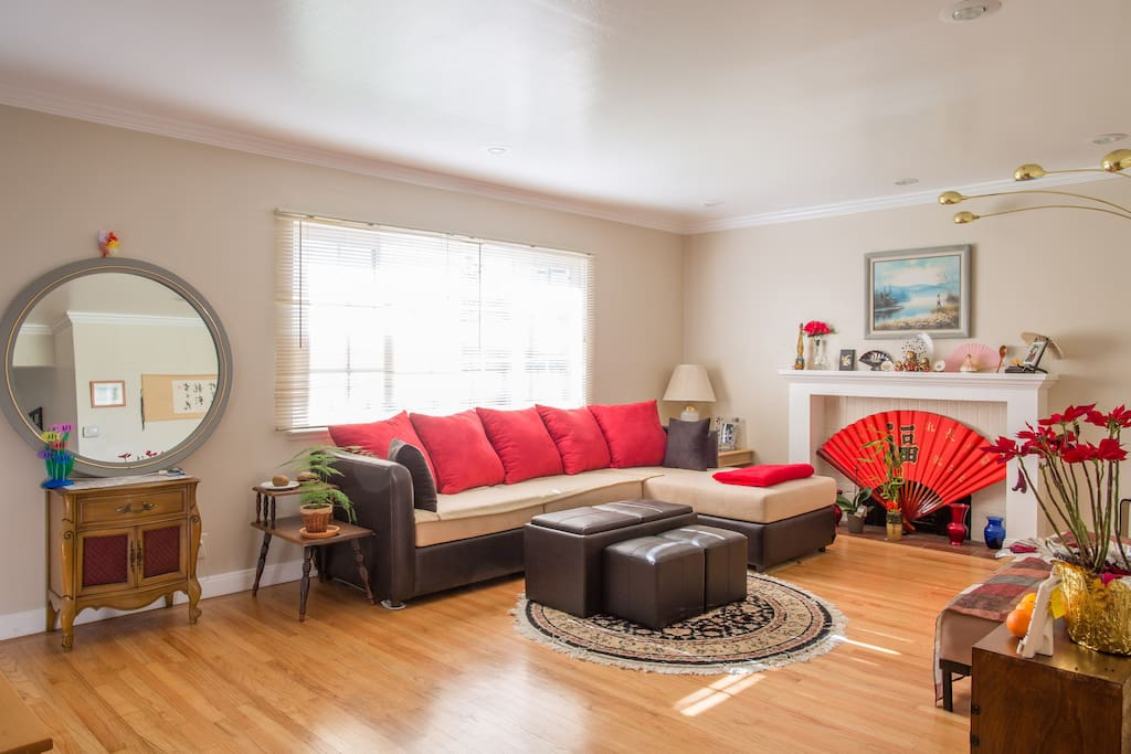 Red means warm welcome& happiness!-Living Room