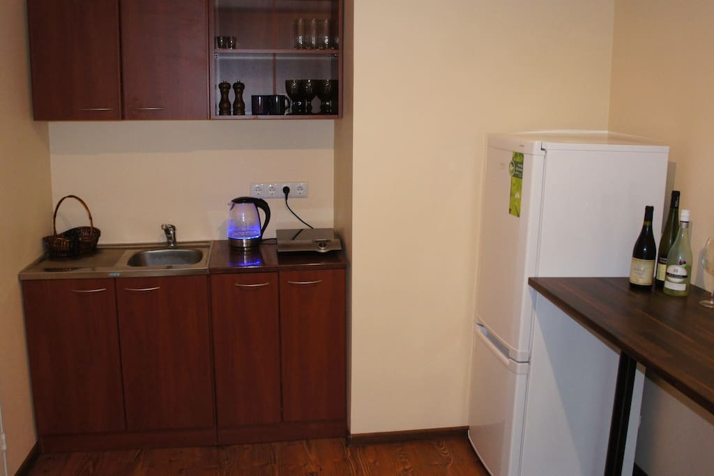 Kitchen corner with kettle, induction stove, fridge and bar table