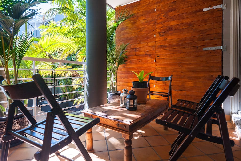 Private outdoor space to relax and escape the city hustle. (Please note that timber screens have been   removed and placed indoors)