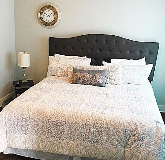 King size bed in master bedroom  Attach bathroom with 2 vanities and stand up shower