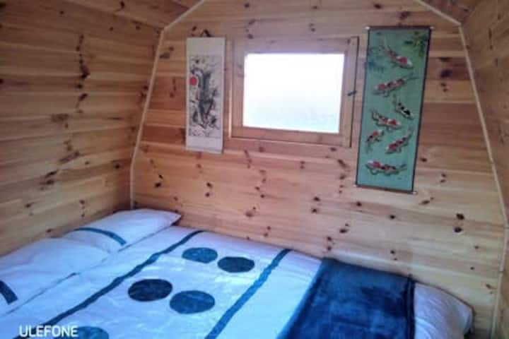 Dog-friendly double glamping pod; optional camping