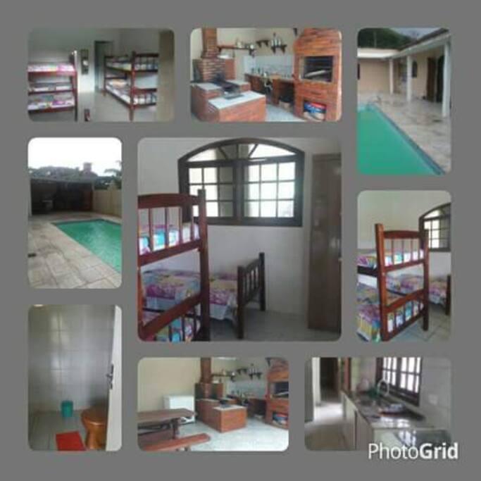 03 quartos com acomodações para 21 pessoas (07 em cada quarto),área de lazer restrita com piscina,churrasqueira e fogão à lenha,cozinha com fogão geladeira,freezer,ar condicionado...