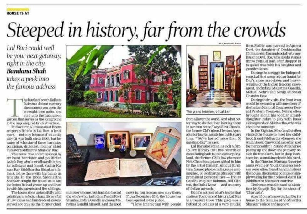 'Lal Bari - The Heritage Red Brick House' makes it to The Times of India, Calcutta ed 3.2.2018