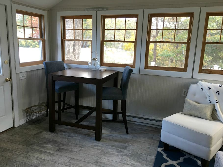 High top table in Family room to sit & enjoy your morning coffee