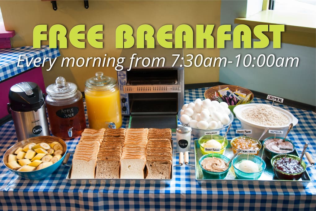 We serve up a delicious continental breakfast every morning from 7:30am – 10:00am. Enjoy coffee, tea, juice, fresh fruit, oatmeal, hard-boiled eggs, white or whole wheat toast, and a selection of spreads including: peanut butter, jam, Nutella, cream cheese, & marmalade.