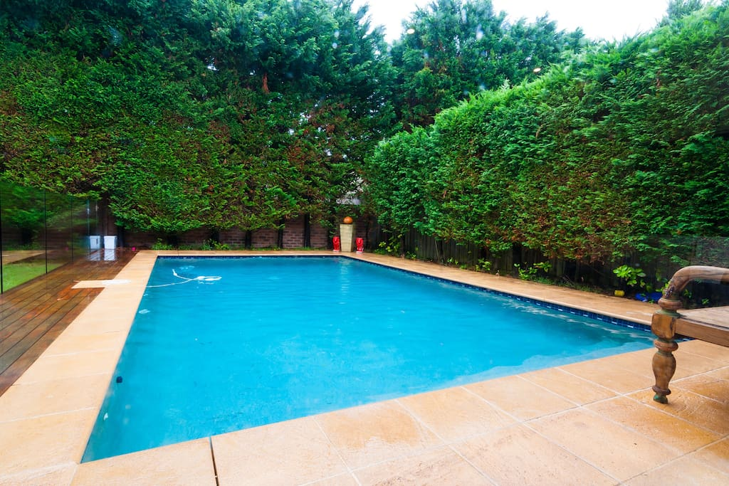 Salt water chlorinated heated pool
