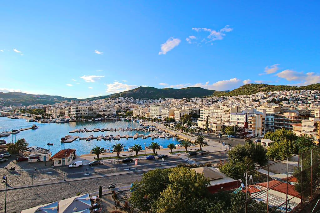 the port of Kavala picture taken from the balcony